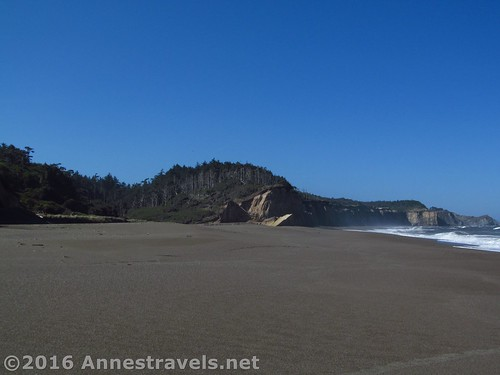 Approaching the area where the trail was supposed to be - the cliffs get even better after this. Floras Lake Beach, Oregon