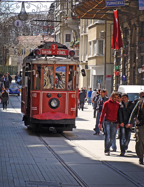 The old tram riding up and down İstiklal Street