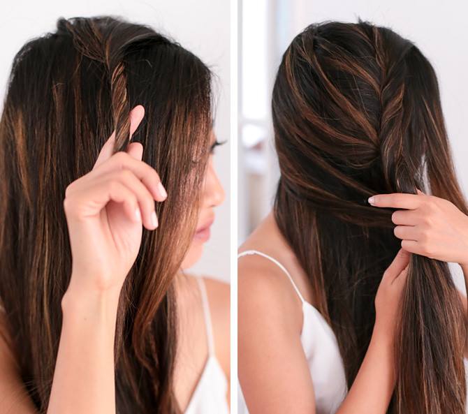 Side fishtail french braid tutorial step 2