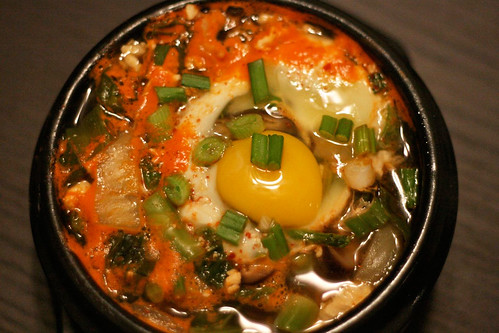 Ravi Jolly's spicy soft tofu stew (soondubu jjigae) | by maangchi