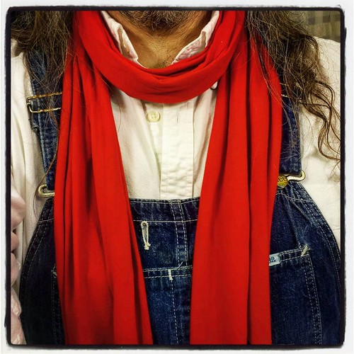 Detail. This outfit made me happy. #ootd #overalls #vintage #Lee #bluedenim #scarf