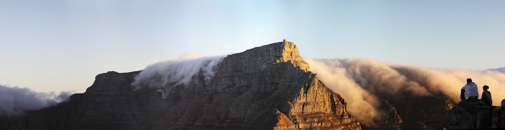 Table Mountain Pano. Table Cloth on Table Mountain - Cape Doctor, Cape Town. Image: Jim Sher, CC.