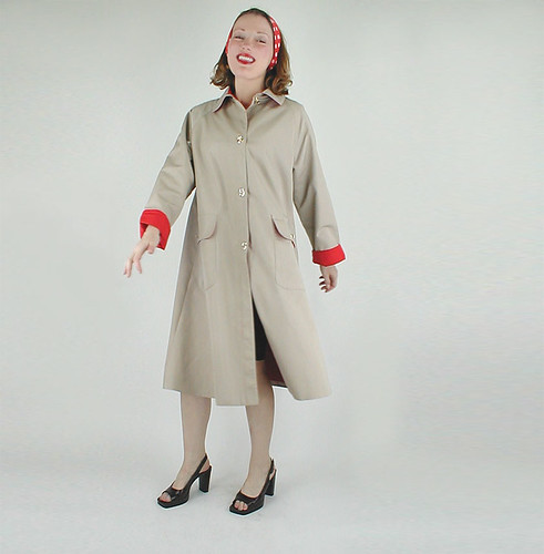 Classic Vintage Bonnie Cashin Tan Raincoat with Red Lining 1 | by denisebrain