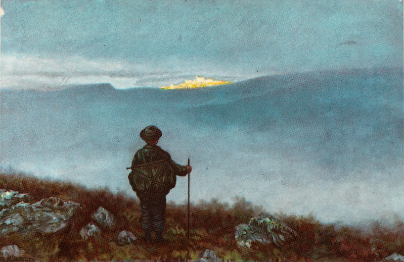Theodor Kittelsen - Far, far away Soria Moria Palace shimmered like Gold, 1900