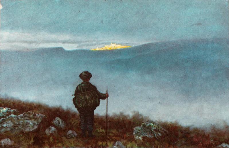 Theodor Kittelsen - Far, far away Soria Moria Palace shimmered like Gold, 1900