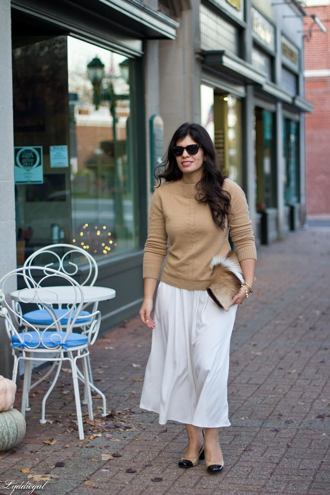 white Culottes, camel sweater, toe cap heels, springbok clutch-7.jpg