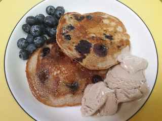 Buckwheat Blueberry Pancakes, Snickerdoodle Ice Cream, blueberries
