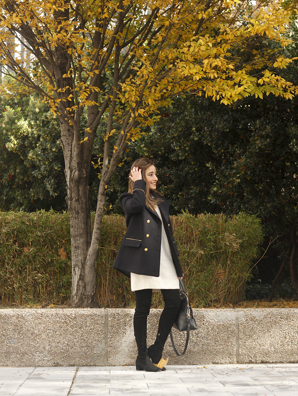 Knitted dress over the knee boots black coat furla bag outfit style fashion fall08