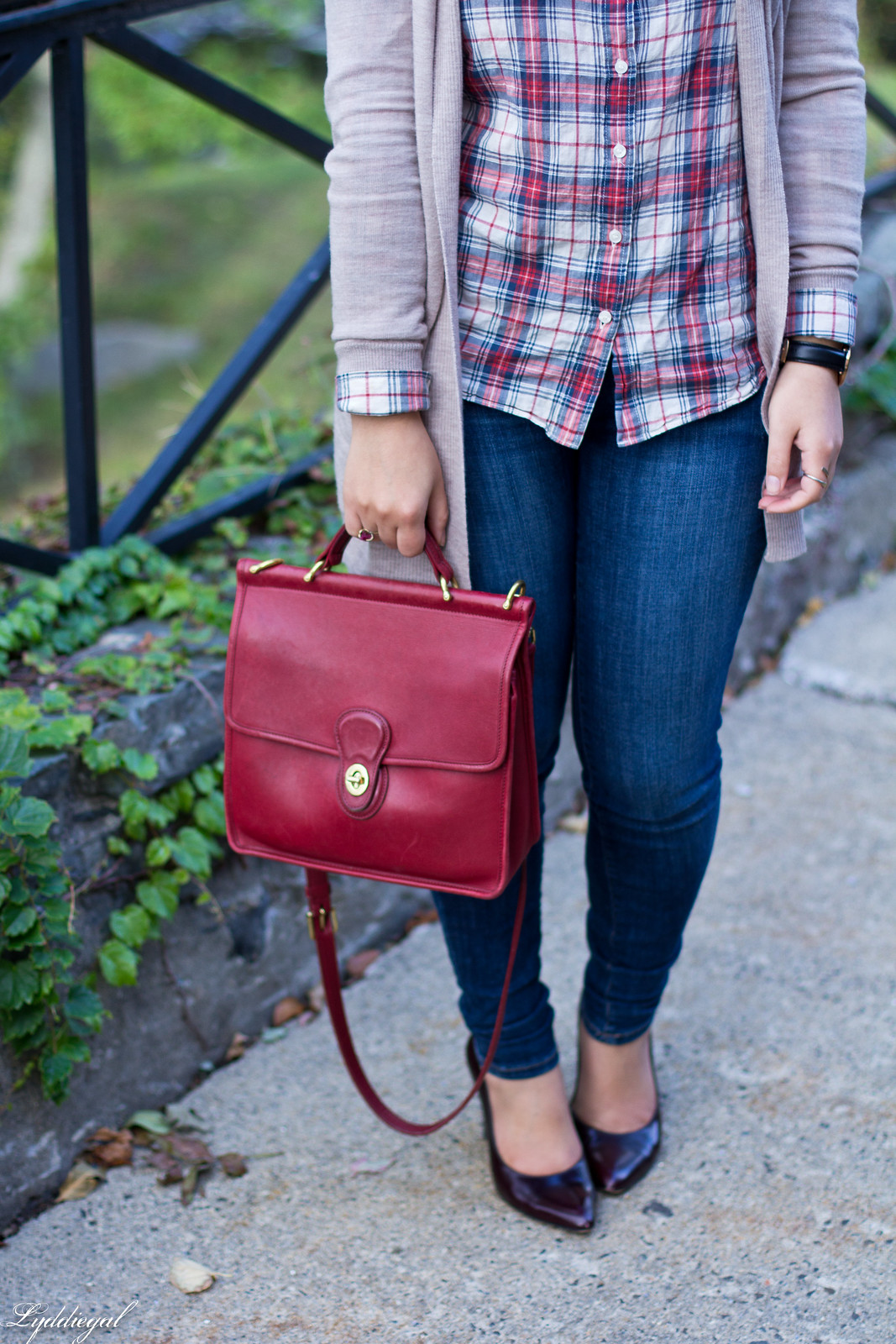 plaid shirt, camel cardigan, jeans, red coach willis bag-5.jpg