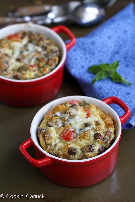 Make-Ahead Baked Egg Recipe with Turkey Sausage, Mushrooms & Tomatoes   cookincanuck.com #recipe #breakfast #eggrecipe