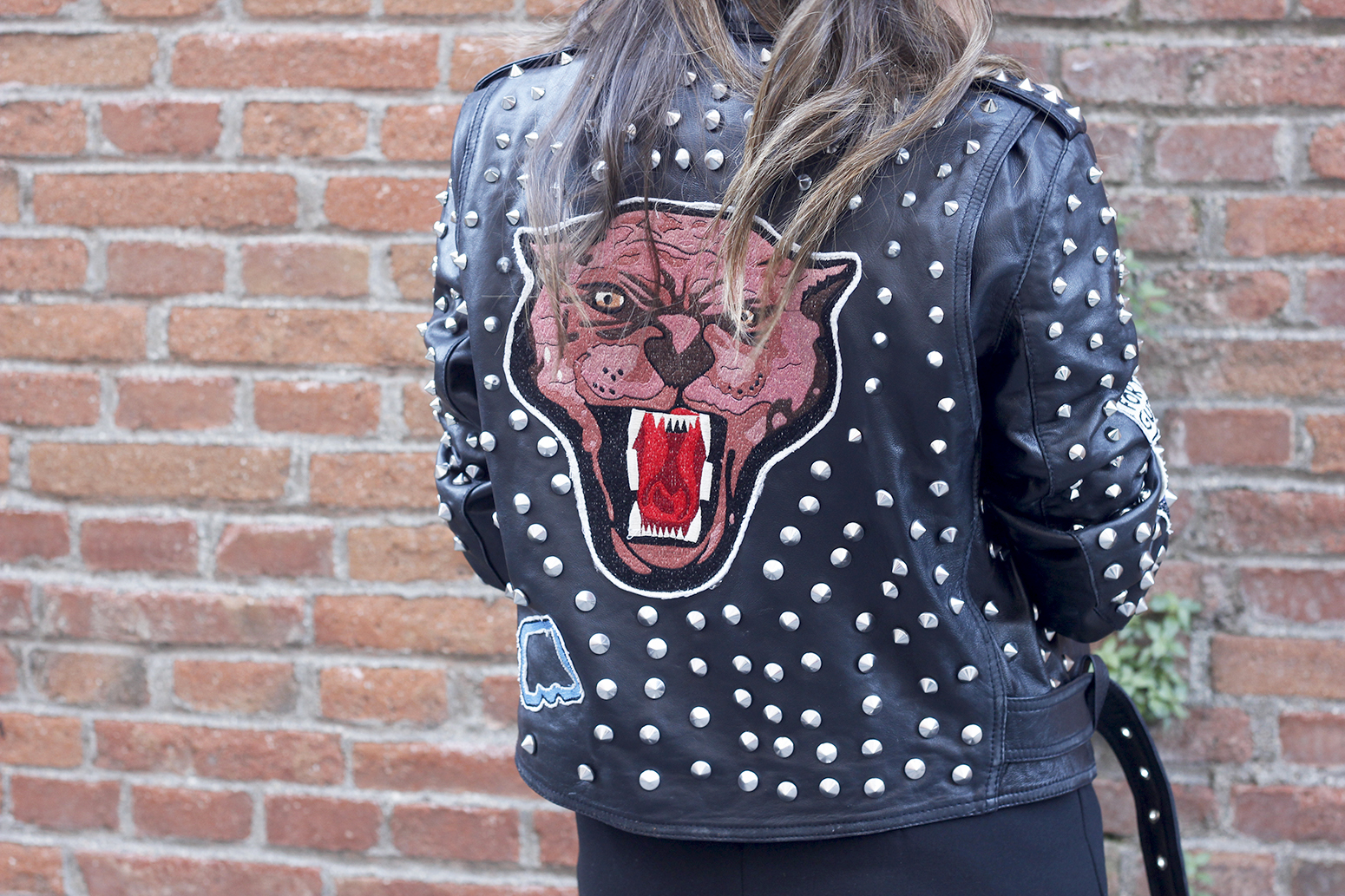 Leather jacket with studs and patches black skirt heels style fashion outfit20