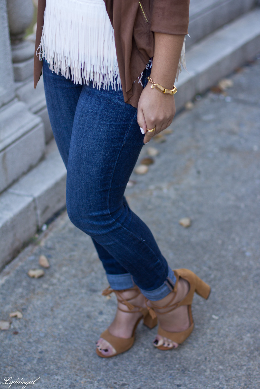 fringe top, draped suede jacket, laceup heels, clare v clutch-8.jpg