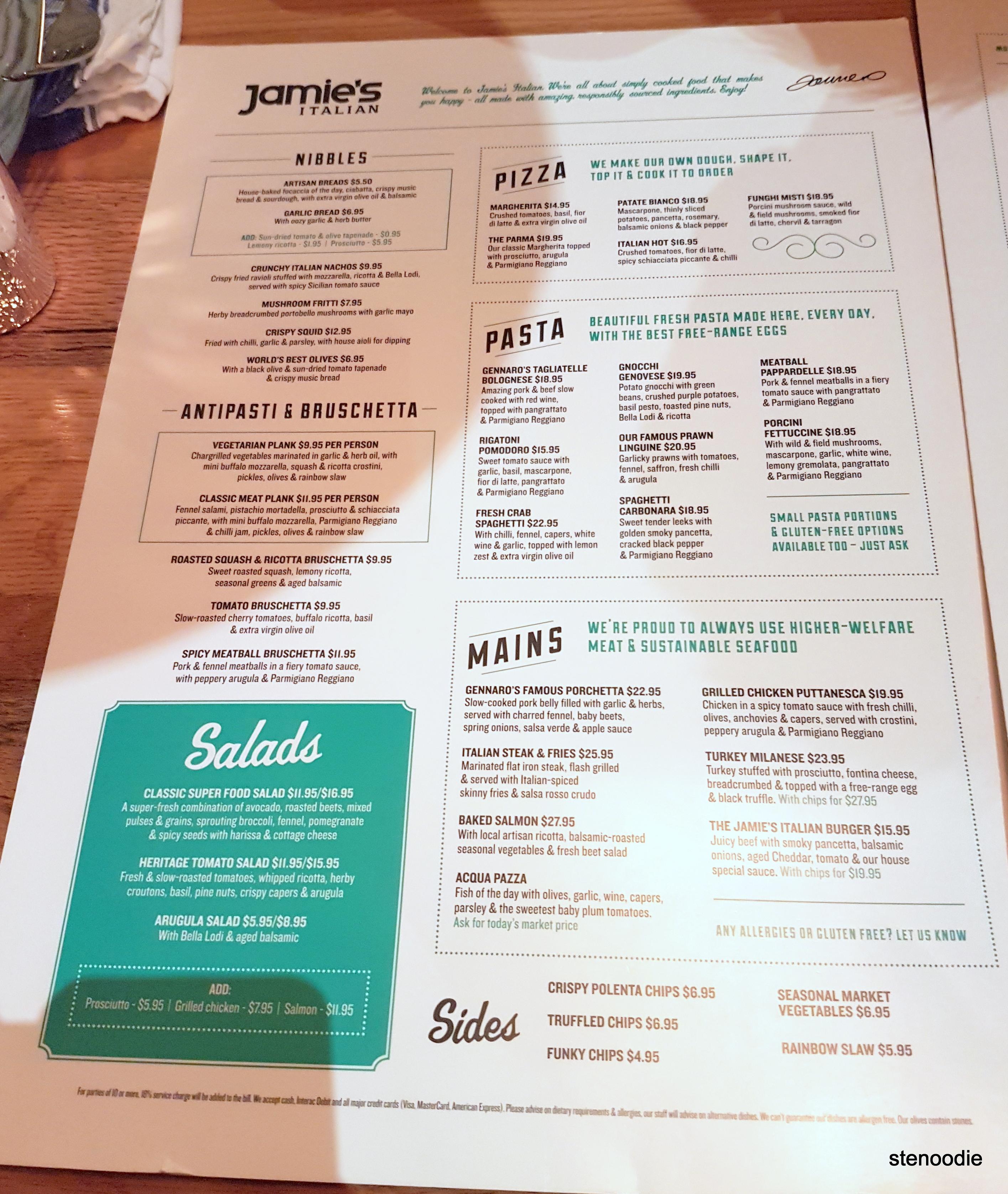 Jamie's Italian Yorkdale dinner menu