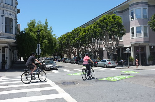 Green-Backed Sharrows on The Wiggle | by SFMTA Livable Streets