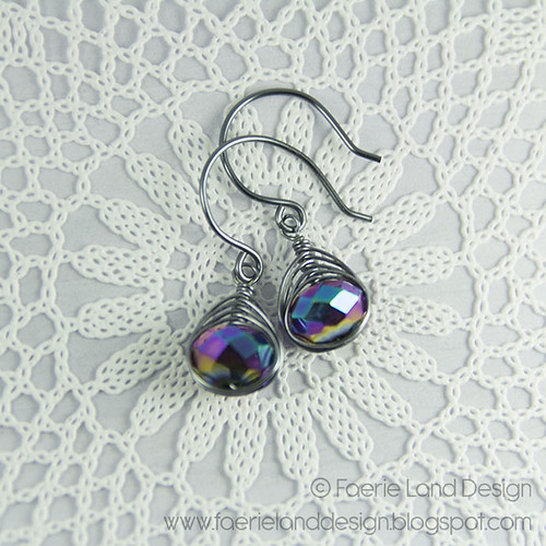 Orecchini wire herringbone - gunmetal & purple