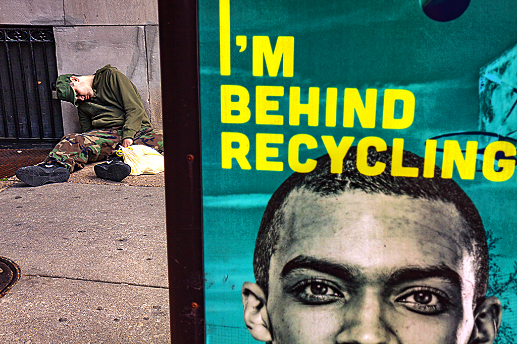 I'M-BEHIND-RECYCLING-with-sleeping-man-in-background--Center-City