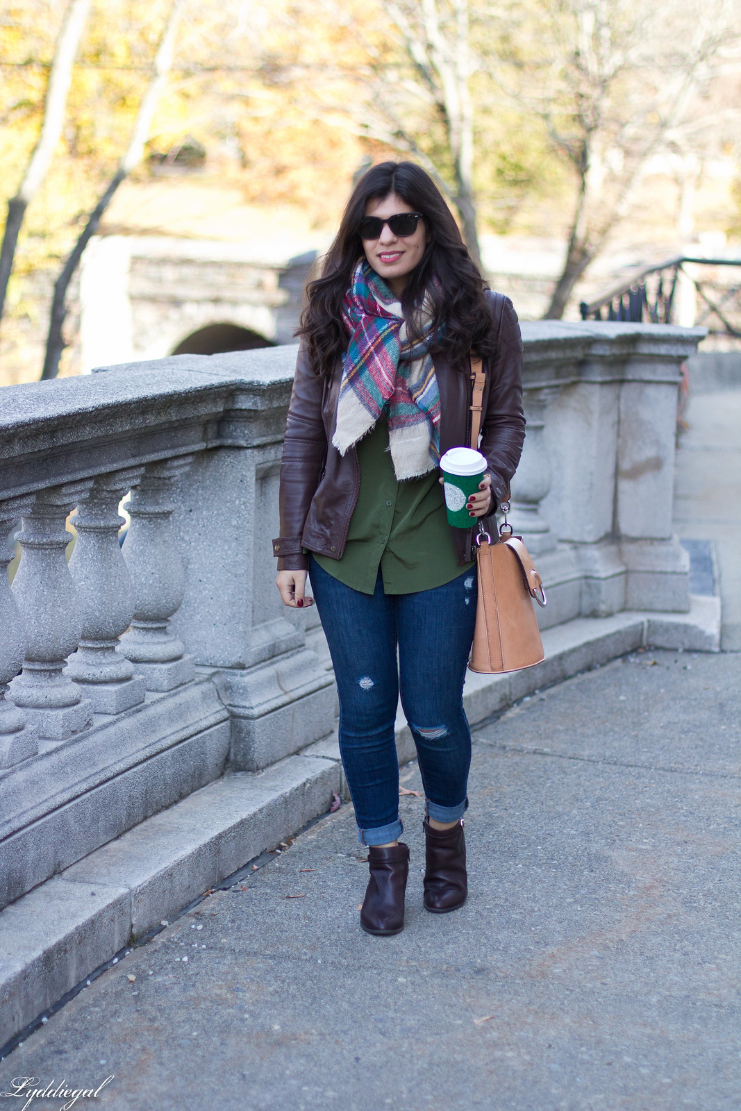 brown leather jacket, plaid blanket scarf, brown booties.jpg