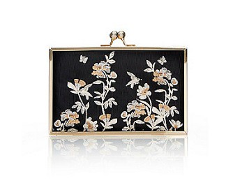 Wallis Black floral embroidered box clutch