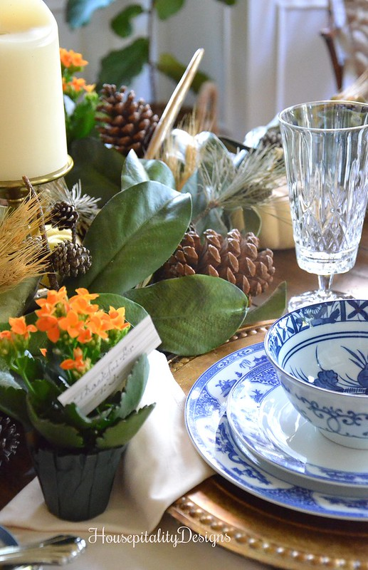 Post Thanksgiving Day Tablescape - Antique Blue and White China - Housepitality Designs