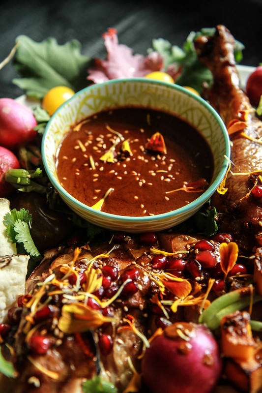 Spice Roasted Turkey with Mole Sauce- nut and gluten free from HeatherChristo.com