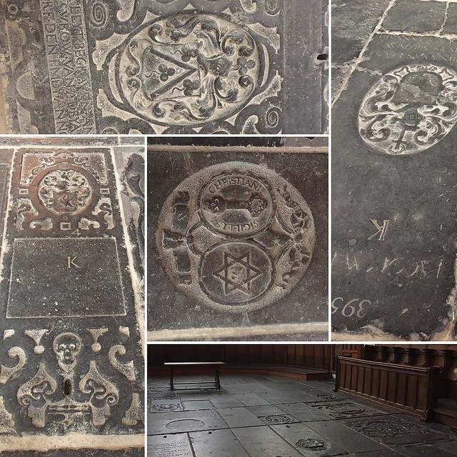 Engraved stones in the floor of the church.