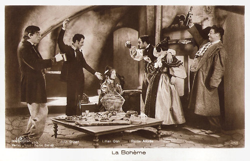 Lillian Gish, John Gilbert and Renée Adorée in La Bohème (1926)