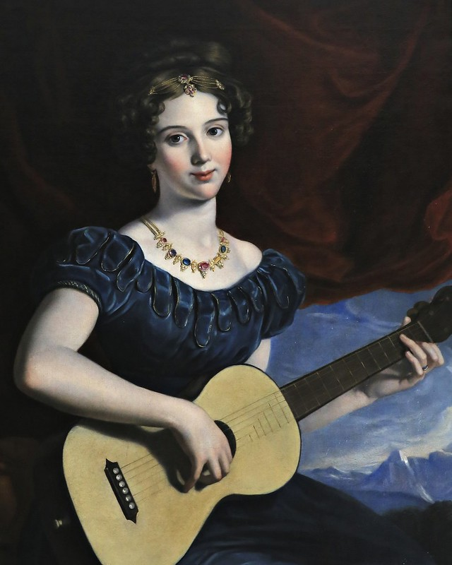 Joseph Karl Stieler - A Lady of the Petre Family Playing the Guitar