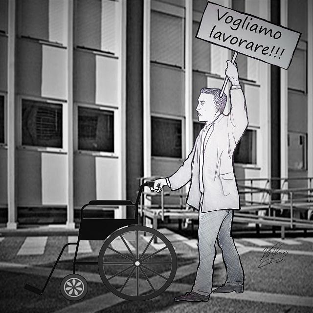Noicattaro. Vignetta protesta dipendenti S. Agostino intero