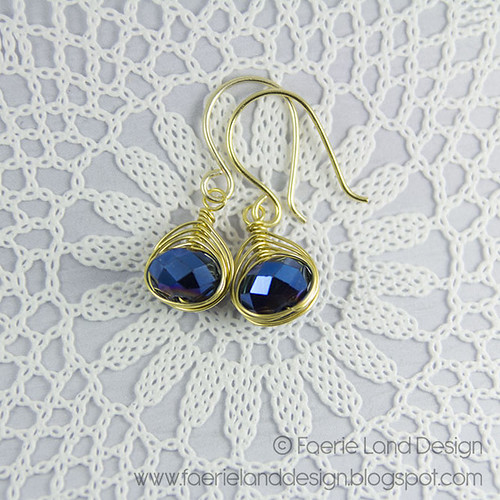 Orecchini wire herringbone - gold & blue