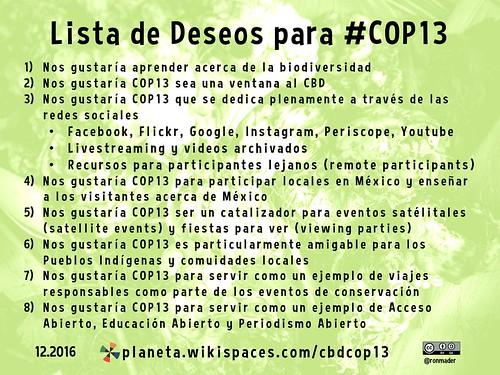 Lista de Deseos para #COP13