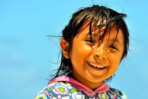 Mexican little girl on the beach. Puerto Morelos | Quintana Roo | Mexico