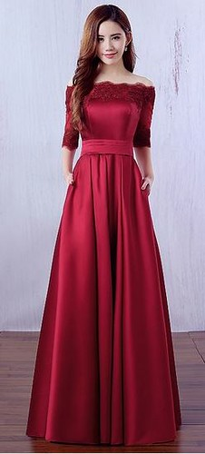 A-line Off-the-shoulder Satin Floor-length Appliques Lace Burgundy 1/2 Sleeve Prom Dresses