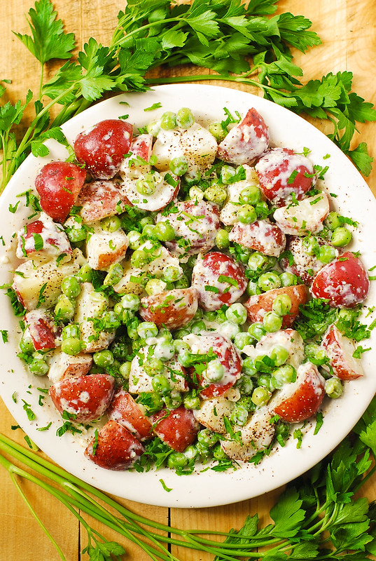 red potatoes and peas, best potatoes, potato salad, best potato salad