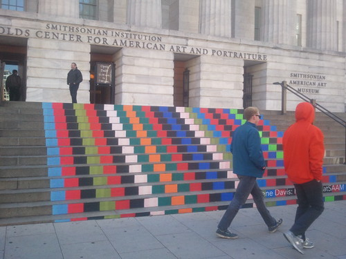 Steps at Smithsonian American Art Museum featuring an homage to the Gene Davis exhibit at the museum