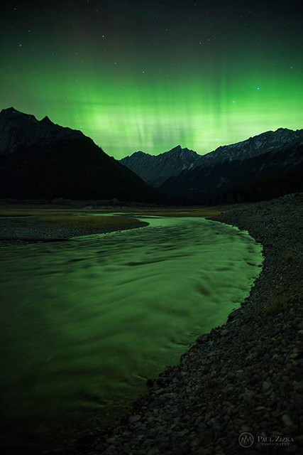 """""""Neon Rush"""" Fellow Canadians: keep your eyes peeled for some green in the sky over the next couple of nights. This was the peak of the action last night here in Jasper National Park, at around 2 AM at Medicine Lake. Heading back out for more! Jasper, Cana"""