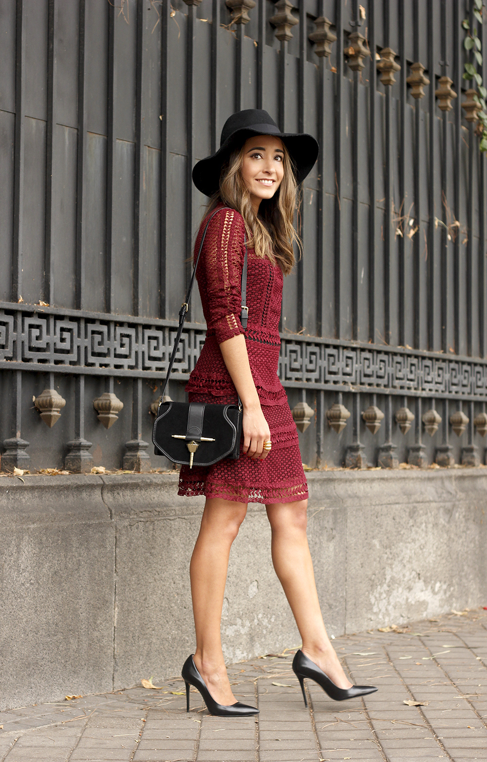 burgundy lace dress black heels hat accessories outfit fashion style10