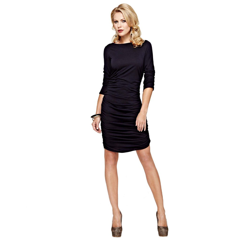 HotSquash Black ruched dress in clever fabric