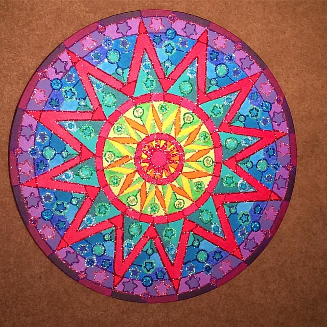 "The latest Mandala painting, fully glittered. Now I just have to decide if it's really ""done"", or just done because I'm sick of working on it! 😝"