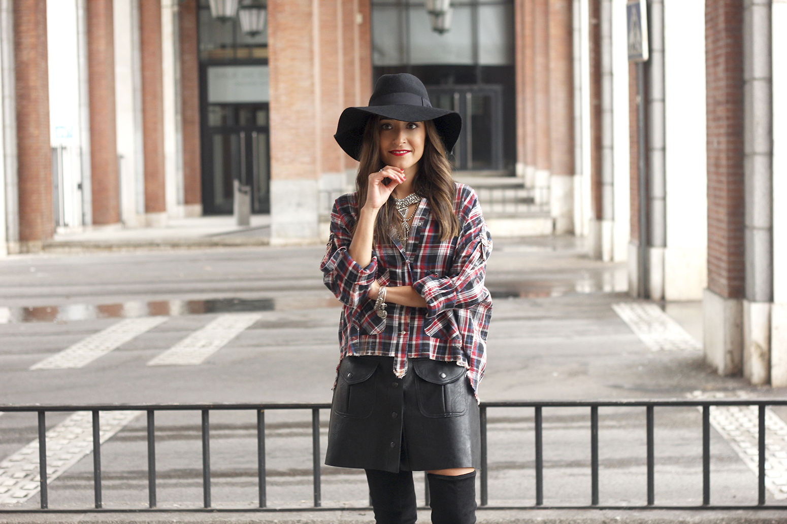 tartan shirt leather skirt over the knee boots accessories hat fashion outfit rainny day23
