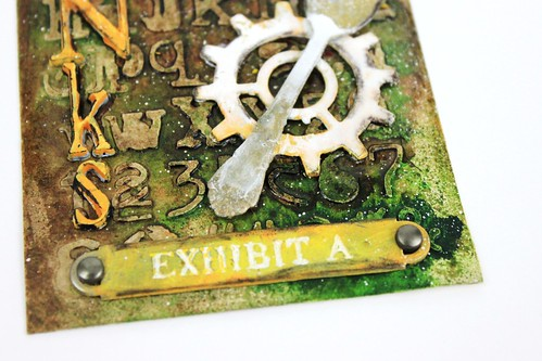 Meihsia Liu Simply Paper Crafts Mixed Media tag Thanks Simon Says Stamp Monday Challenge Tim Holtz 3