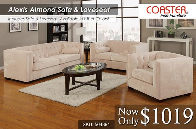 Alexis Almond Sofa Loveseat COA-504391+92