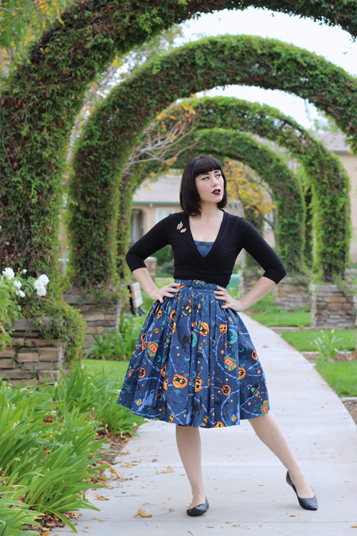 Pinup Girl Clothing Pinup Couture Jenny Dress in Lantern Print Heart of Haute Sweet Sweater in Black