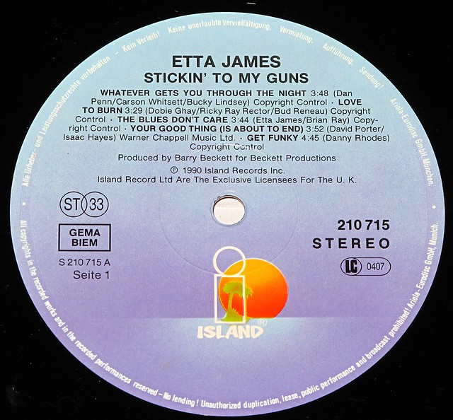 "ETTA JAMES STICKIN' TO MY GUNS 12"" LP"