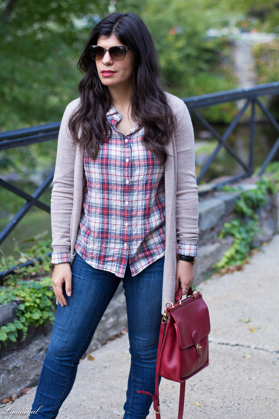 plaid shirt, camel cardigan, jeans, red coach willis bag-9.jpg
