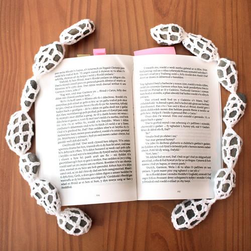 Crochet & pebble book weight