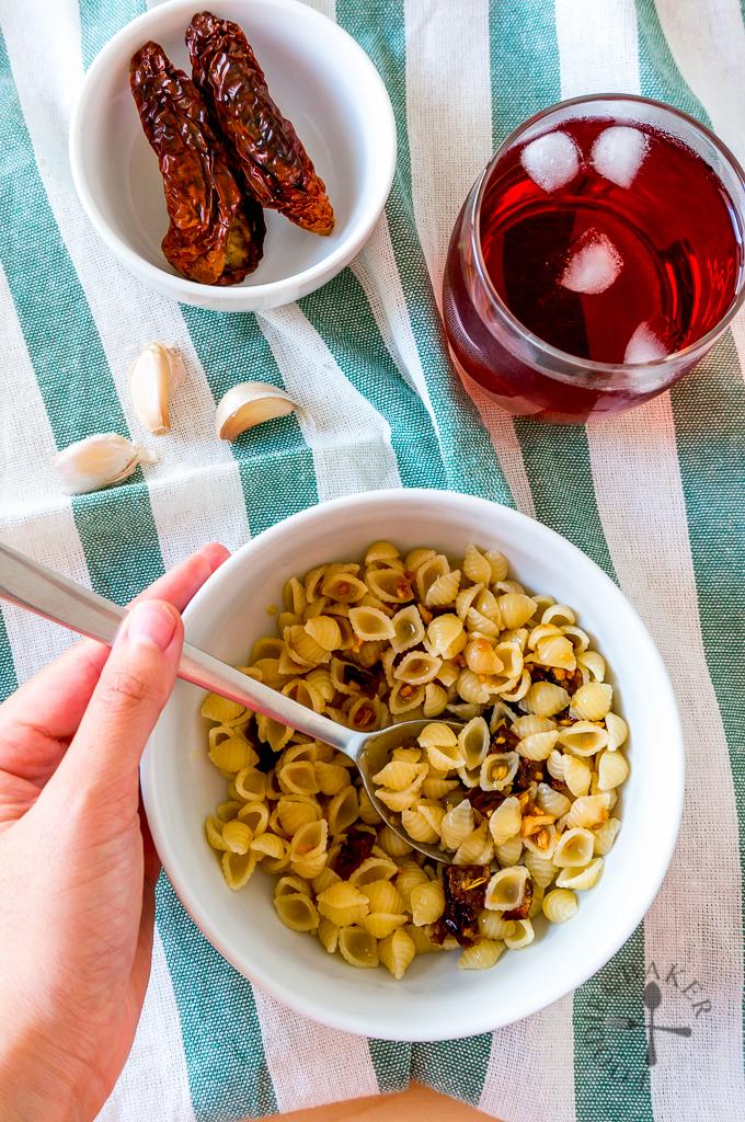Pasta Aglio e Olio with Sun-Dried Tomatoes