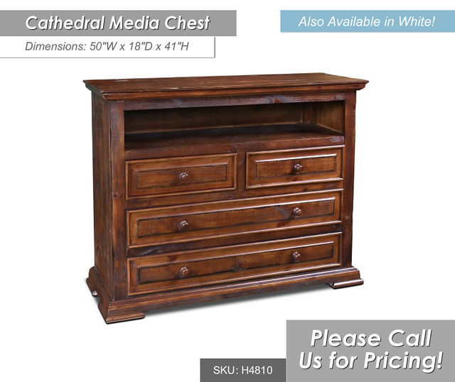 h4810-340-Cathedral Media Chest Brown - Dimensions - 50 x 18 x 41 Available in Brown and White
