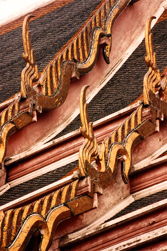 The roofline of the royal palace in Bangkok, Thailand