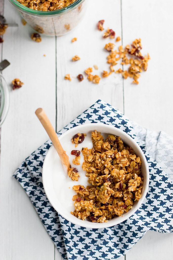 Pumpkin Cranberry Granola // pistachios + coconut