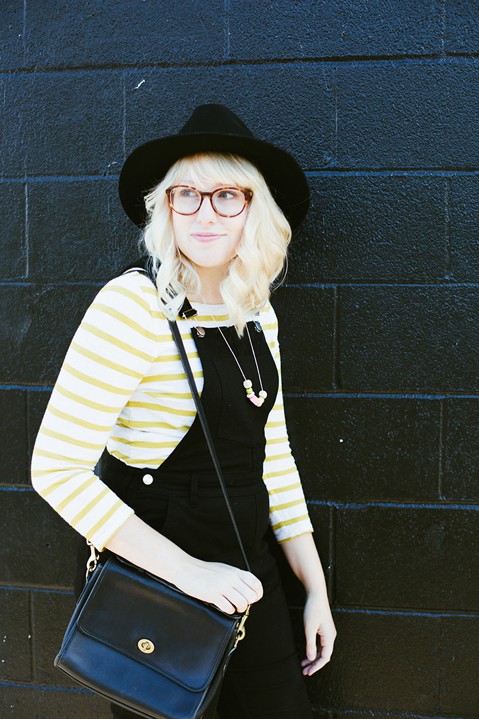 writes like a girl black overalls striped shirt7